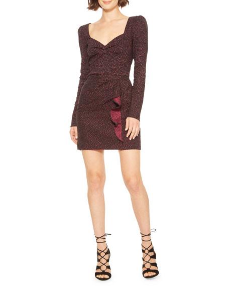 Parker Miuccia Sweetheart Jacquard Long-Sleeve Dress