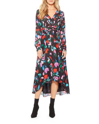 Cora Floral Button-Front Midi Dress