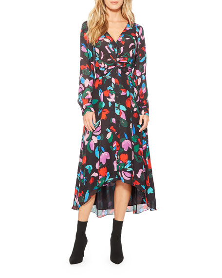 Parker Cora Floral Button-Front Midi Dress