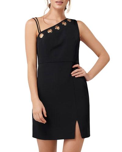 Asymmetric Bodice Eyelet Keyhole Sleeveless Mini Dress