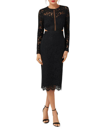 Long-Sleeve Midi Lace Cocktail Dress with Side Cutouts