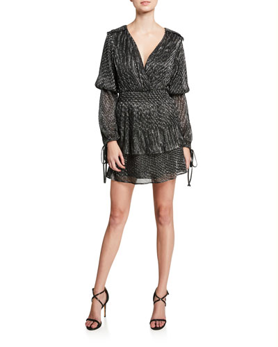 Maeryn Metallic Long-Sleeve Short Dress