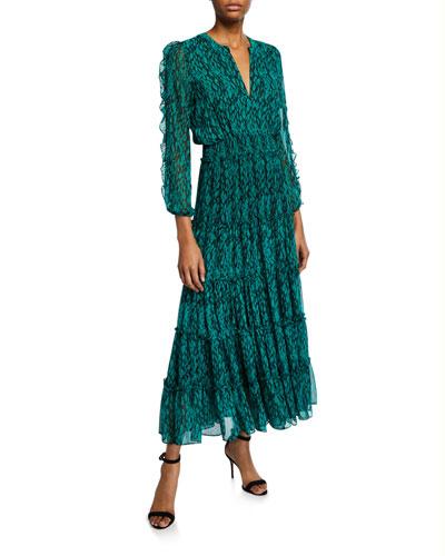 Hadeya Printed Ruffle Maxi Dress