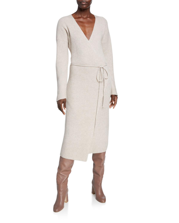 Vince Dresses RIBBED WOOL/CASHMERE MIDI WRAP DRESS
