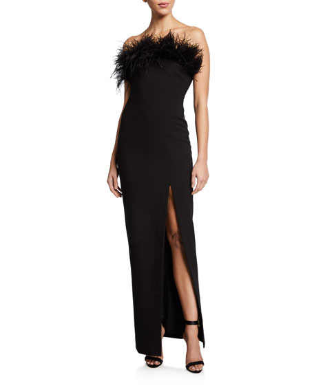 Likely Desi Strapless Column Gown with Feathers