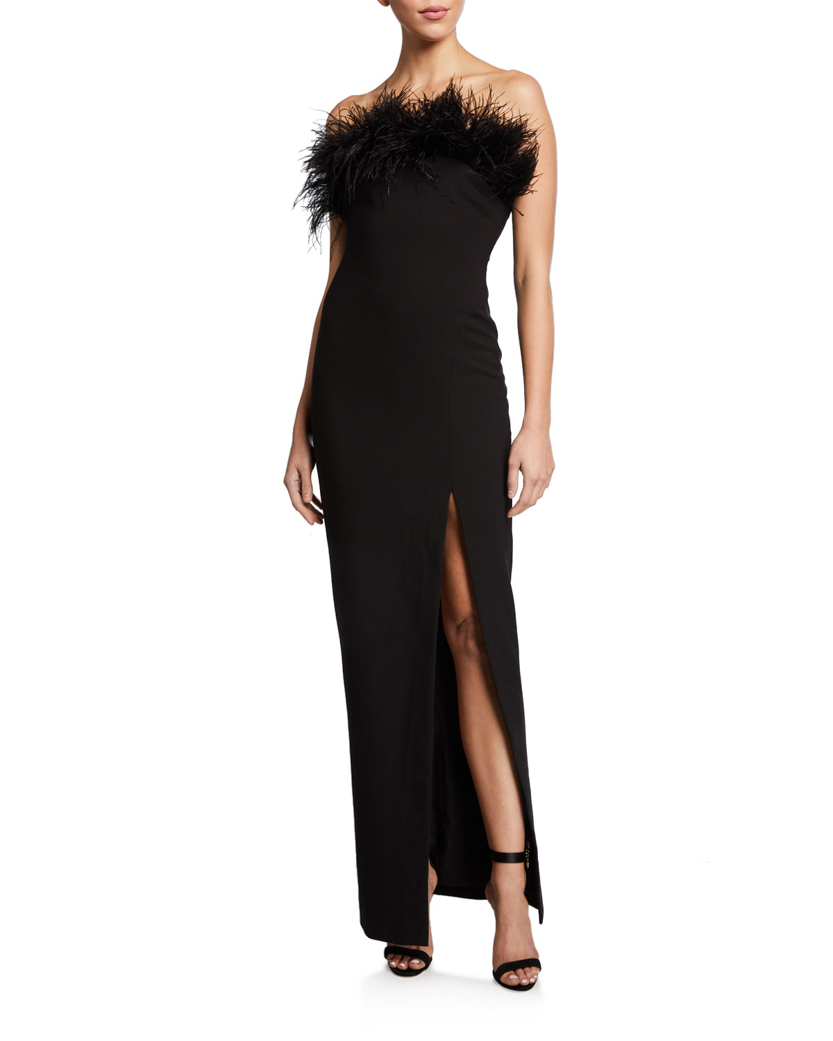 Likely Tops DESI STRAPLESS COLUMN GOWN WITH FEATHERS
