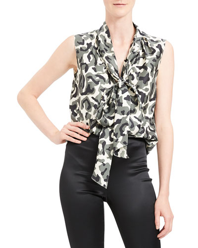 Camo Tie Neck Sleeveless Silk Twill Top