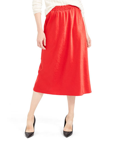 Easy Pull-On Satin Midi Skirt