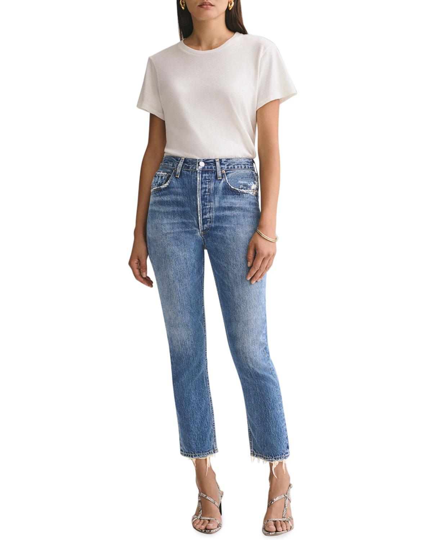 Riley High-Rise Straight Crop Jeans w/ Shredded Hem