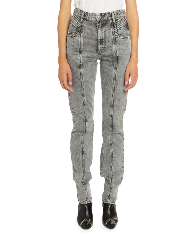Etoile Isabel Marant Jeans HOMINEY ACID-WASHED MOTO JEANS