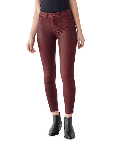 Florence Coated Ankle Mid Rise Skinny Jeans