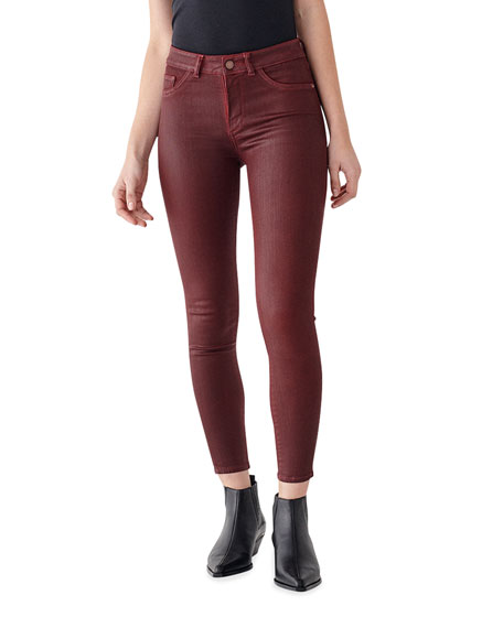 DL1961 Premium Denim Florence Coated Ankle Mid Rise Skinny Jeans