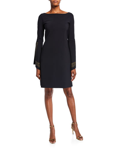 Boat-Neck Embellished Split-Sleeve A-Line Dress