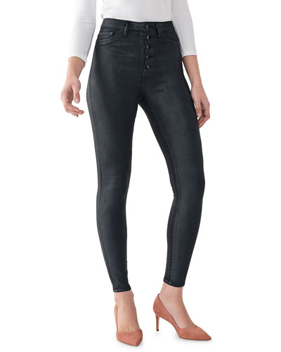 Chrissy Coated Ankle Ultra High Rise Skinny Jeans