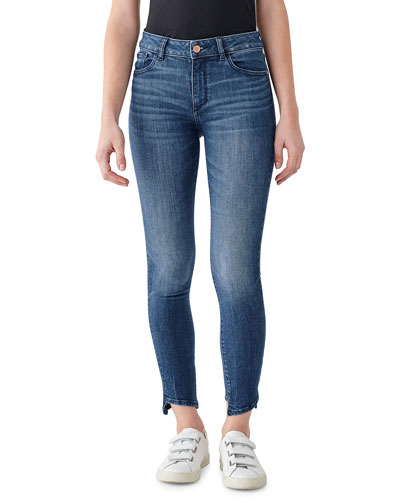 Florence Ankle Mid Rise Skinny Jeans with Hem Detail
