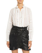 Etoile Isabel Marant Valda Lace-Inset Frilled Cotton Shirt