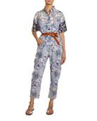 Etoile Isabel Marant Udena Paisley-Print Cotton Utility Jumpsuit