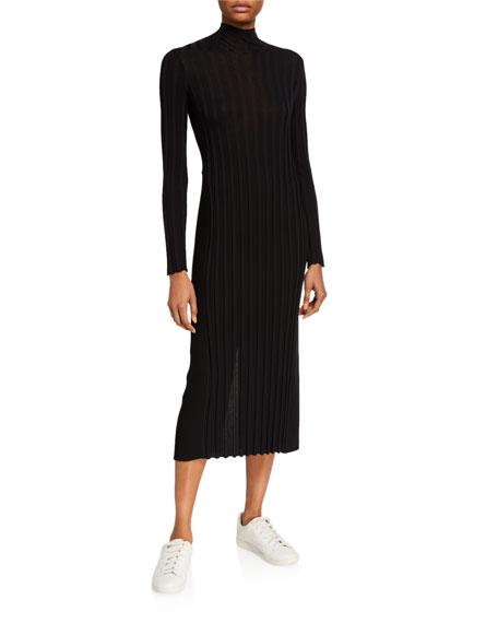 Vince Mixed Rib Long-Sleeve Midi Turtleneck Dress