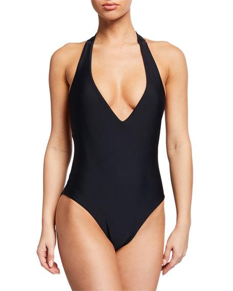 Veronica Beard Salis Plunging Halter One-Piece Swimsuit