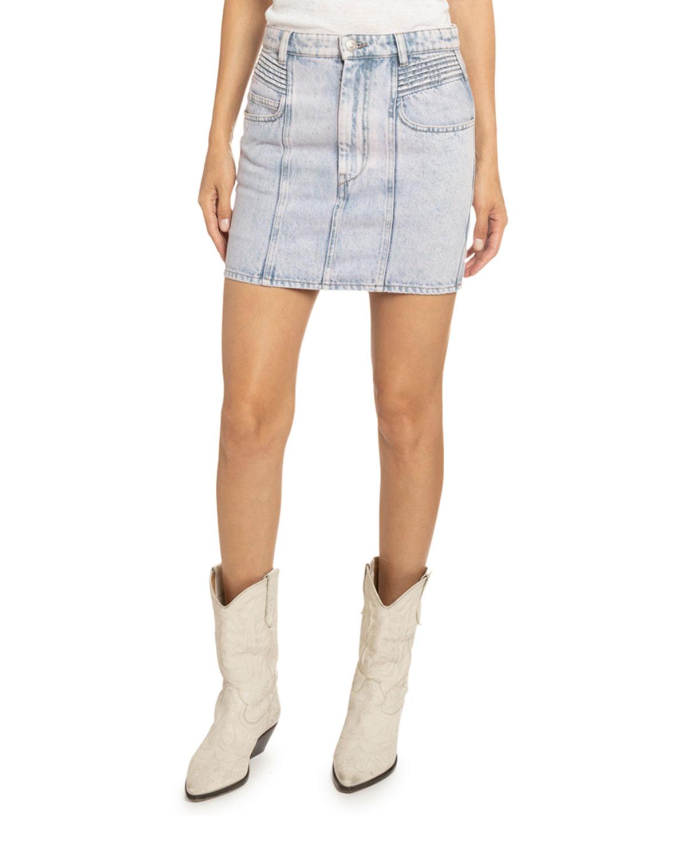 Etoile Isabel Marant Skirts HONDO ACID-WASHED DENIM SKIRT
