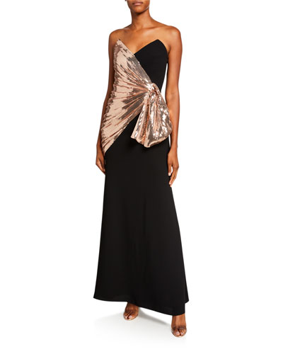 Strapless Crepe Column Gown w/ Sequin Bow Detail