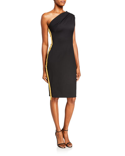 Mila One-Shoulder Sheath Dress w/ Beaded Side Trim