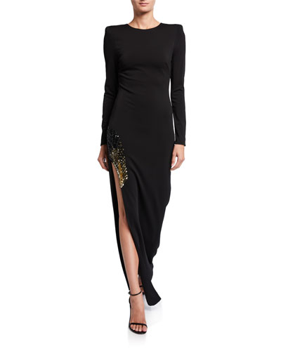 Gia Long-Sleeve Side-Slit Gown w/ Embellishment