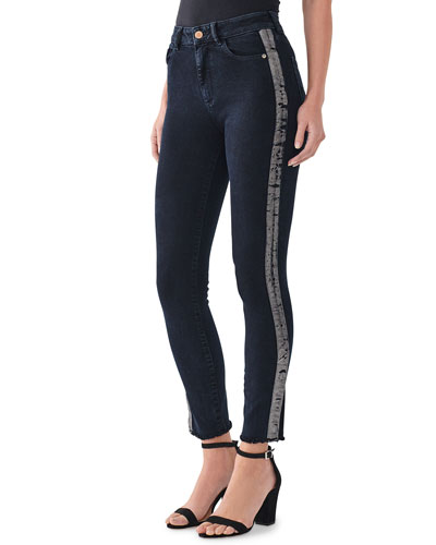 Farrow Tux-Stripe Ankle High Rise Skinny Jeans