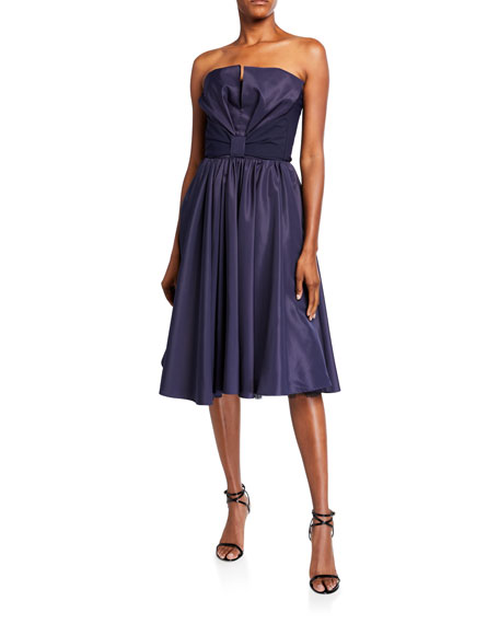 Chiara Boni La Petite Robe Taffeta Bustier Full-Skirt Cocktail Dress