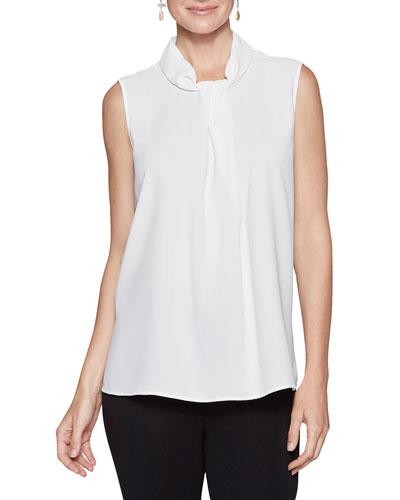 Plus Size Sleeveless High-Neck Blouse w/ Tie Detail