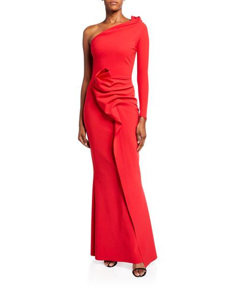 Chiara Boni La Petite Robe Asymmetric One-Sleeve Shirred Skirt Gown
