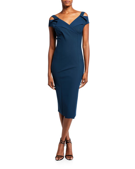 Chiara Boni La Petite Robe Cold-Shoulder Knee-Length Dress