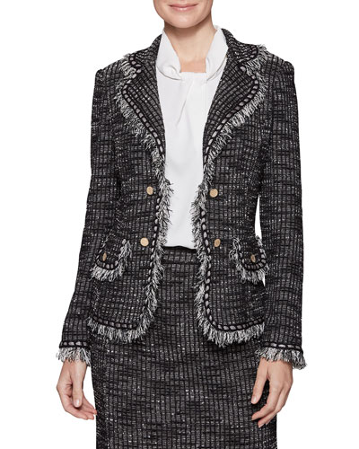 Plus Size Tweed Jacket with Gold Buttons
