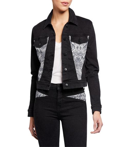 J Brand Harlow Shrunken Denim Jacket with Snake-Print Insets
