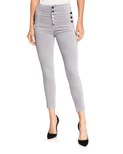 Natasha High-Rise Crop Coated Velvet Skinny Jeans