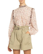 Etoile Isabel Marant Vega Pleated Floral-Print Cotton Blouse