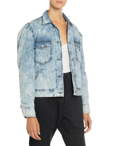 Iolinea Acid Wash Puff-Sleeve Denim Jacket