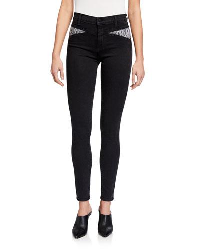 Maria High-Rise Skinny Jeans w/ Snake-Print Panels