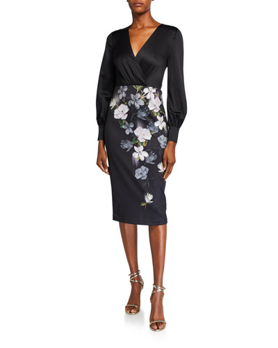 Opal Floral Long-Sleeve Midi Dress