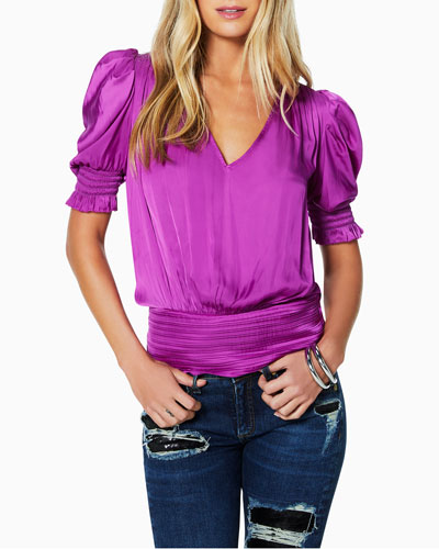 Flora Satin Puff-Sleeve V-Neck Top
