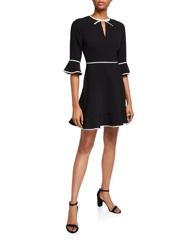 Bell-Sleeve Keyhole Skater Dress with Bow Binding