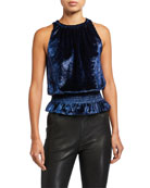 Ramy Brook Lauren Sleeveless Velvet Top