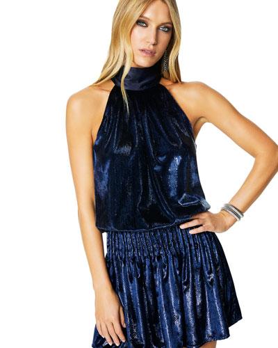 Lori Velvet Halter Short Dress