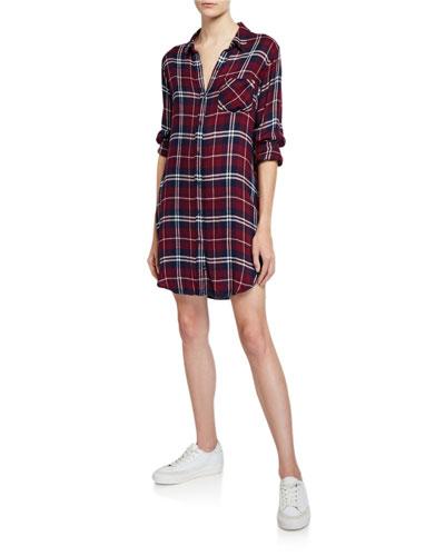 Bianca Long-Sleeve Plaid Shirt Dress