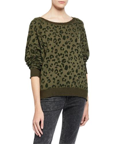 Theo Distressed Leopard-Print Sweater
