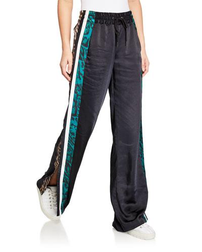 Silky Side-Slit Track Pants