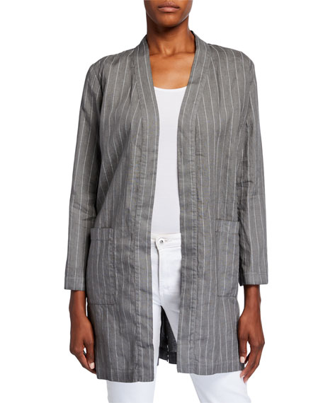 120% Lino Pinstripe Long Linen Jacket