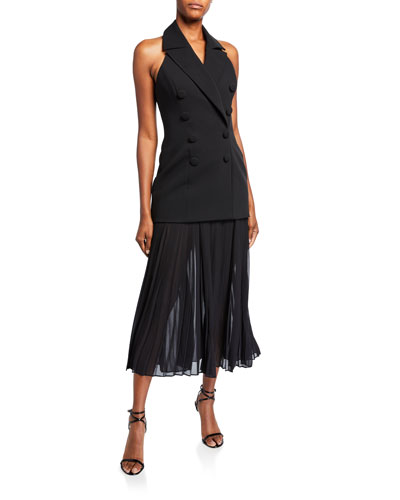 Sammiah Double-Breasted Tuxedo Halter Dress