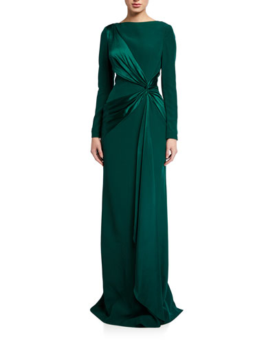 Long-Sleeve Crepe Column Gown with Draped Satin Trim