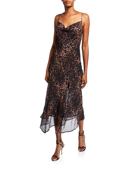 Misha Johanna Leopard Cowl-Neck High-Low Slip Dress